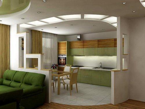 зал и кухня вместе дизайн фото