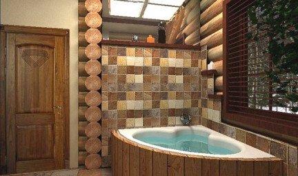 Стиль кантри в ванной комнате