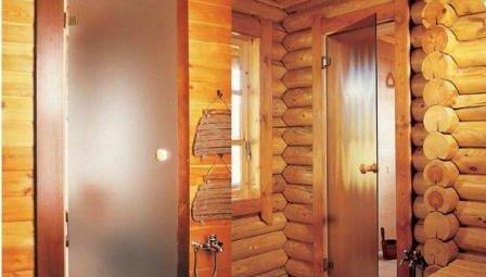Стеклянная дверь в парилку
